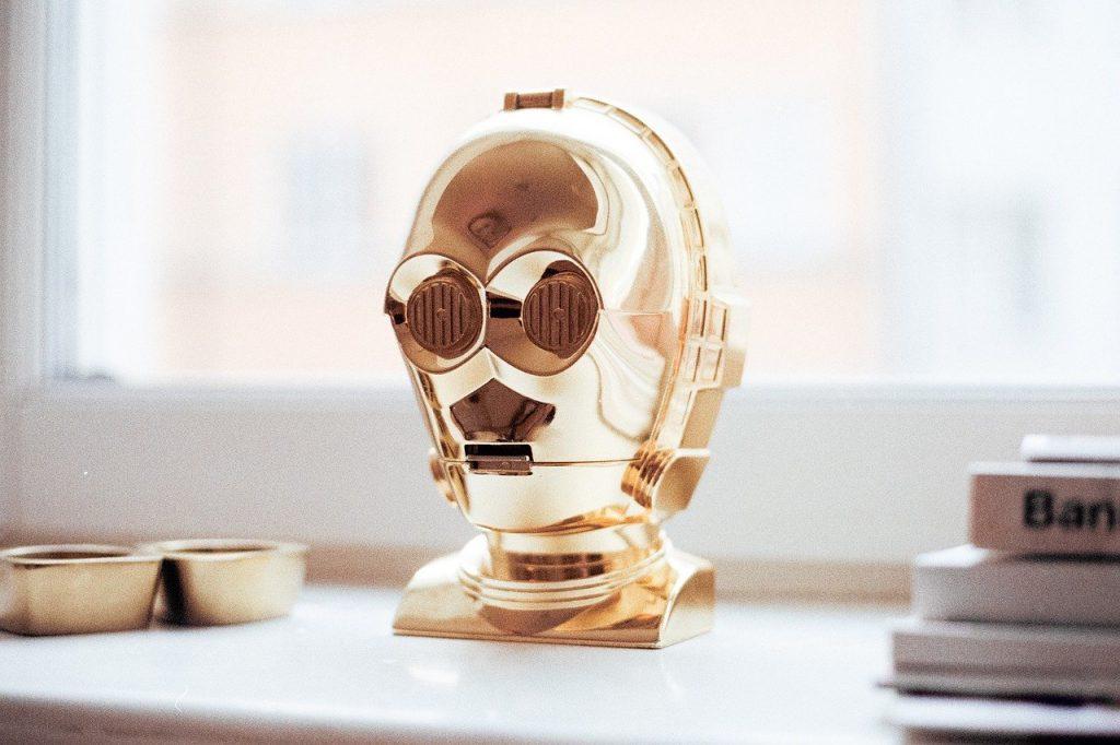 robot, gold, decoration
